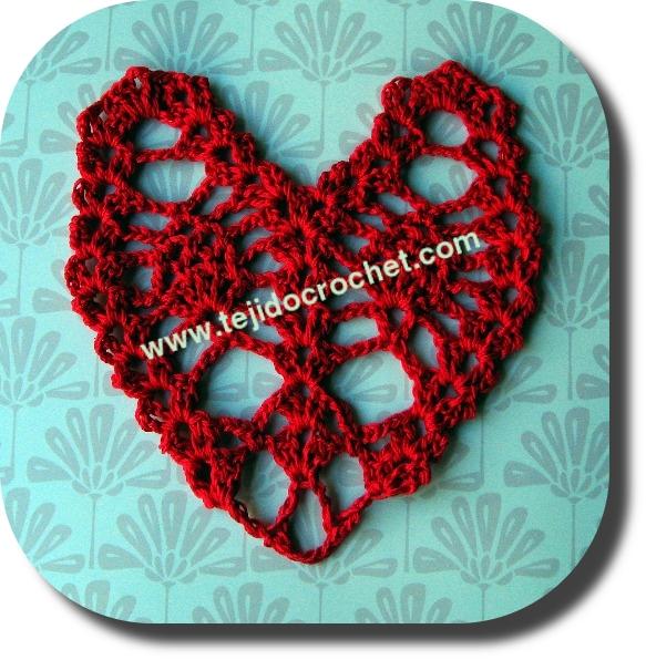 Corazón tejido a crochet