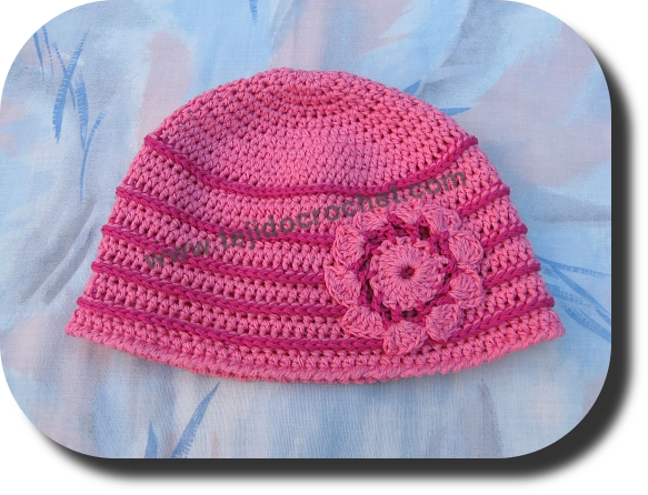 Gorro rosado para niña en tejido crochet o ganchillo – TEJIDO CROCHET