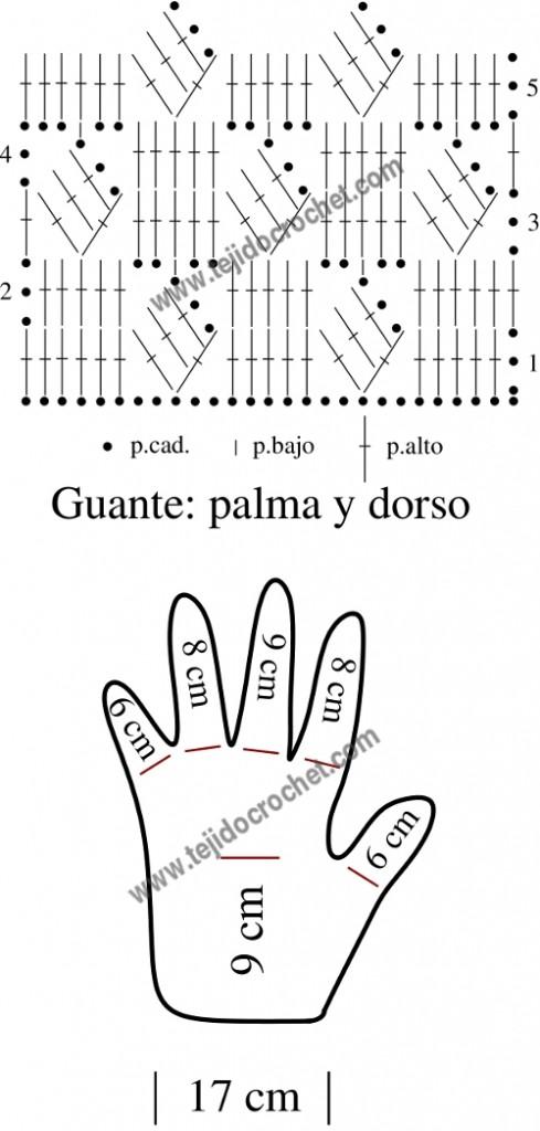 Patrón de los guantes a crochet