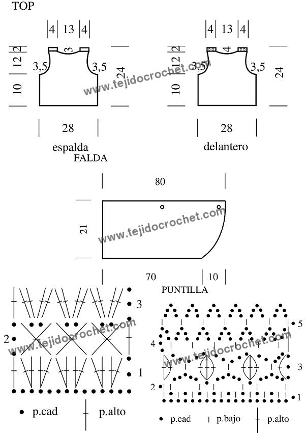 Patrón de Top y Falda a crochet