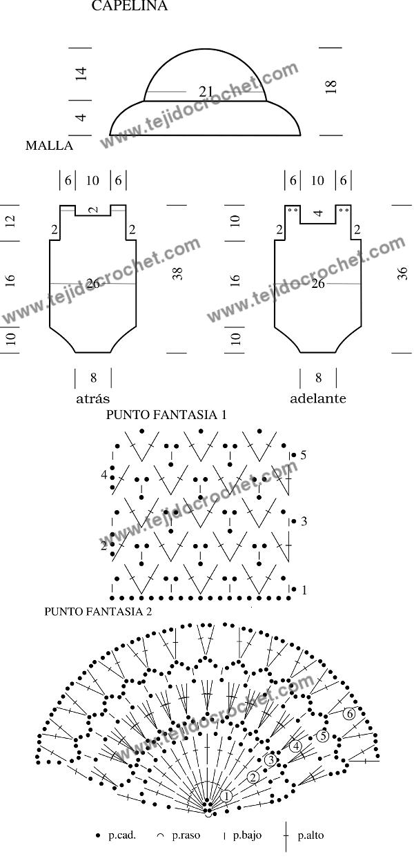 Patrón de Capelina y malla tejido a crochet