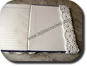 Solapa tapa cuaderno en tejido a crochet