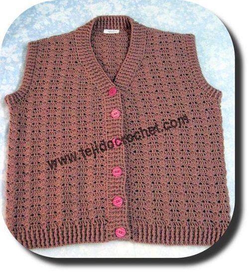 Chaleco señora en tejido crochet