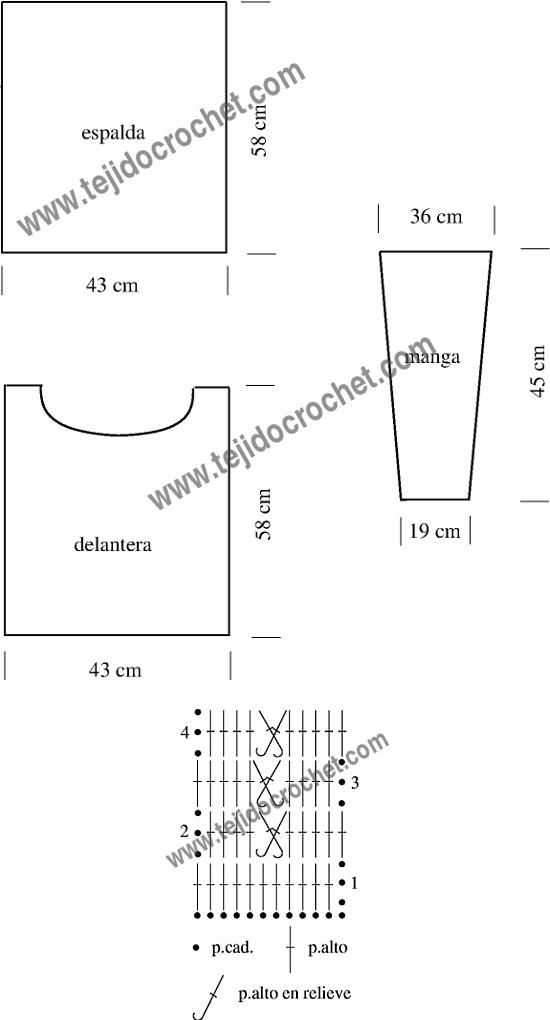 Gráfico y patrón del sueter en tejido crochet