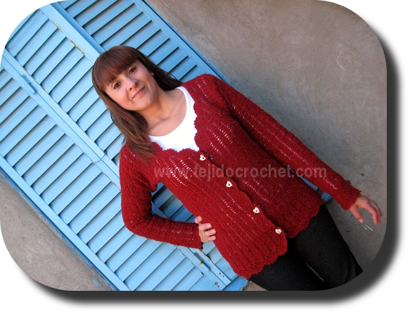 Campera bordo en tejido crochet