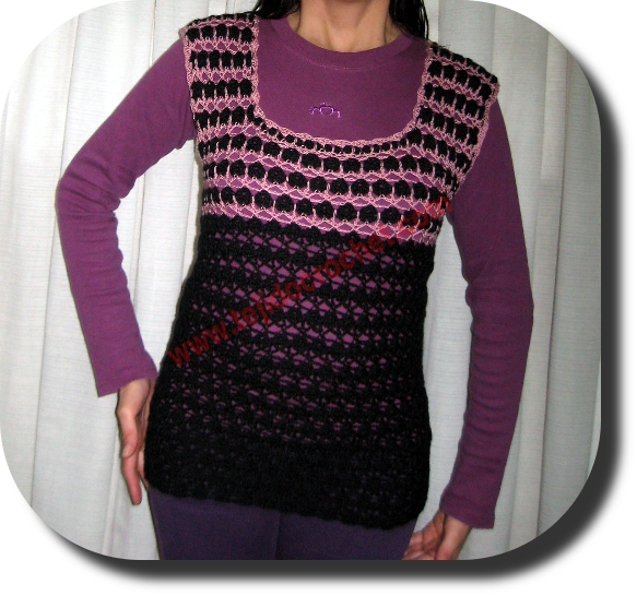 Chaleco largo en tejido crochet