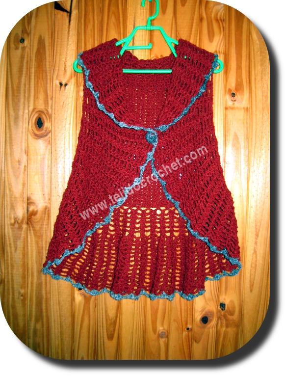 Chaleco circular en tejido crochet