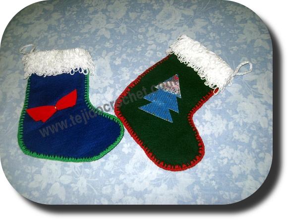 Bota navidad con tela y tejido crochet