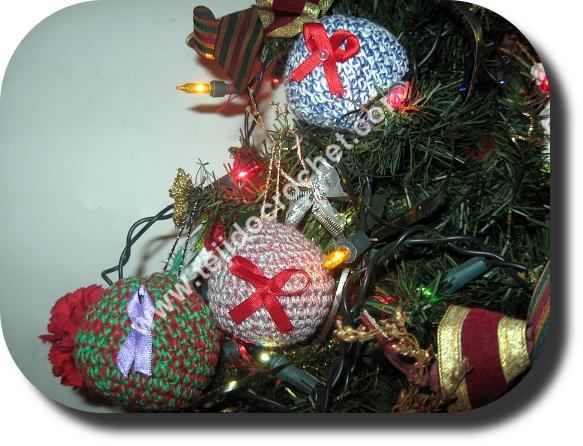 Bolas de Navidad en tejido crochet
