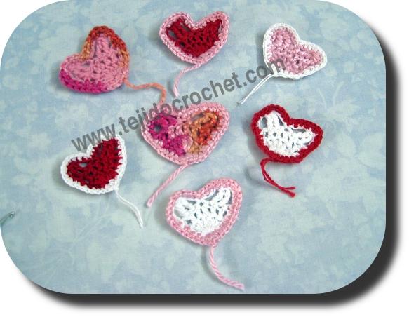 Corazoncitos San Valentín en tejido crochet