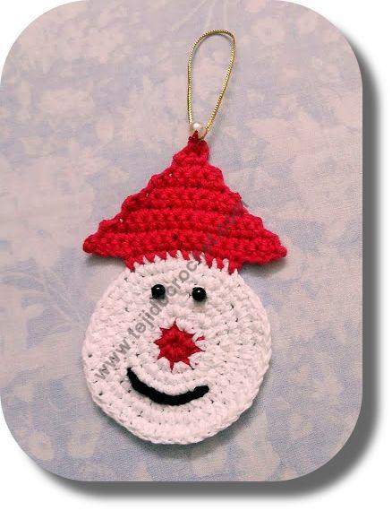 Adorno Papá Noel en tejido crochet o ganchillo