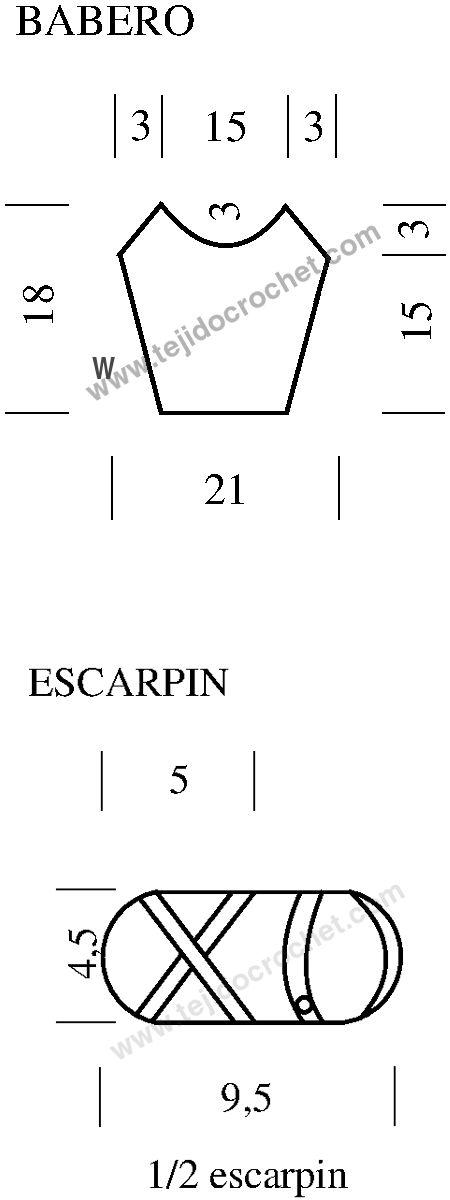 Patrón del babero y sandalias a crochet